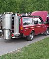 Volvo 245 GL, 2,3 L, оборудованный газогенератором, может комфортно перевозить 4 человека