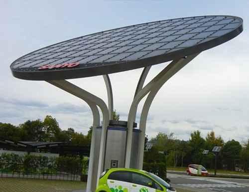 Солнечные панели на декоративных столбах