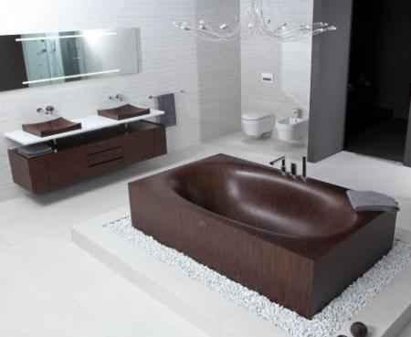 Экологичная ванная из дерева