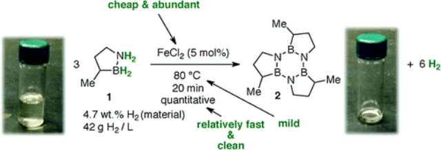 При контакте с катализатором, в данном случае хлоридом железа, бор-азот-метилциклопентан начинает выделять газообразный водород