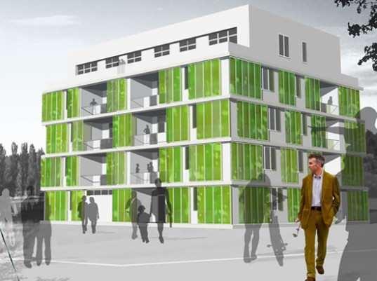 Здание с панелями из фотобиореакторов с хлореллой внутри