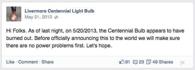 Поклонники лампочки в фейсбуке