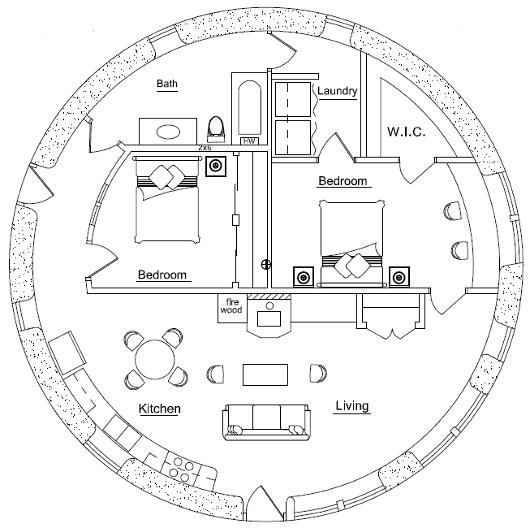 План землебитного дома Fortress Tower