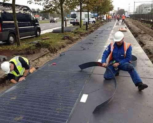 Строительство дороги из солнечных панелей